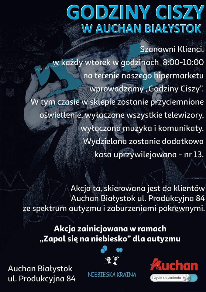 Plakat Godziny ciszy w Auchan Białystok
